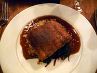 Slow Roast Belly of Pork with Creamed Truffled Pearl Barley and Red Chard